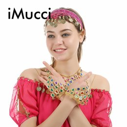 Wholesale iMucci Indian Dancing Show Accessories Colorful Crystal Triangle Bangle Chain Exotic Jewelry Belly Dance Dress Bracelet