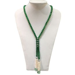 natural stone tassel necklaces UK - Hot sell super beautiful natural white freshwater pearl green stone tassel long sweater chain necklace fashion jewelry