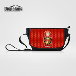 Discount russian bags - Dispalang Matryoshka Doll Red Russian Nesting Dolls Prints Flap Pocket Big Messenger Bags Cartoon Crossbody Shoulder Bag