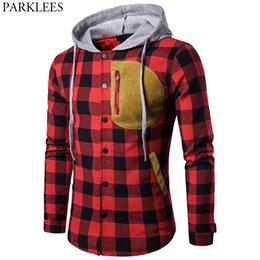 c6df572df0 Red Black Plaid Winter Men Hooded Jacket Parka Homme 2017 Brand New Casual  Long Sleeve Mens Thick Cotton Padded Jackets Coats