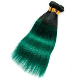 Green ombre weaves online shopping - Pre colored Human Hair Bundles Straight Hair Ot Green Color Bundles Deals Inch Non Remy Brazilian Hair Weave Bundles