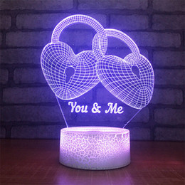 pattern batteries NZ - Hot Cake Love Gift New Design DC 5V USB Powered AA Battery Love Heart Pattern 3D LED Night Light 3D Illusion Lamps