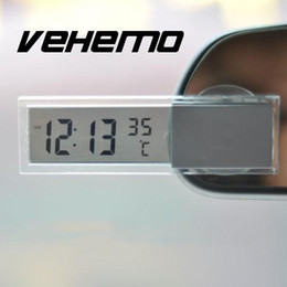 auto clocks car 2018 - Vehemo Digital LCD Clock Thermometer With Suction Cup Auto Car Vehicle Monitor cheap auto clocks car