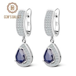 $enCountryForm.capitalKeyWord NZ - GEM'S BALLET 1.29ct Natural Sapphire Gemstone Drop Earrings Solid 925 Sterling Silver Fine Jewelry For Women Wedding Y18110110