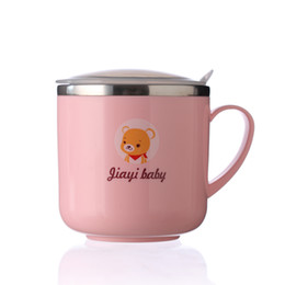 Environmental Protection Products NZ - Environmental protection 304 stainless steel children learn to drink cup mug anti-fall hot cover with handle baby products