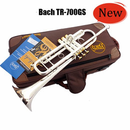 Venta al por mayor de Profesional Bach TR-700GS Trompeta Sib Instrumentos plateado plata Llave de Oro de latón tallado de instrumentos musicales Trompeta Sib