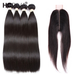 hair weaves closure UK - Brazilian Virgin Straight With 6x2 Closure Unprocessed Brazilian Straight Hair 4 Bundles With Closure Brazilian Human Hair Weave HCDIVA