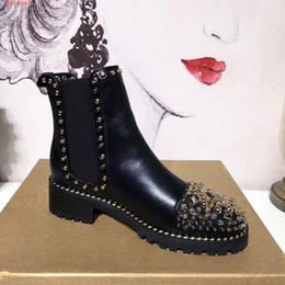 319cf324d3ea6d Top-Qualität Marke Spiks Stiefeletten für Frauen echte Rindsleder  Breathable Mode kausalen Boots Dame roten Boden niet Cowboy Stiefel