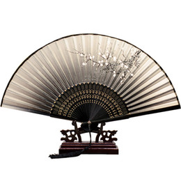 Wholesale Summer Chinese style Japanese folding fan men and women can carry ancient style hand fan knitting technology a variety of colors patterns