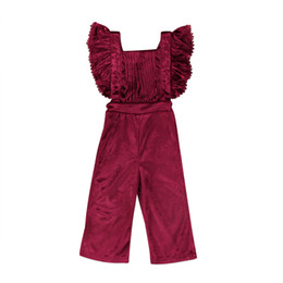 wholesale baby bibs kids UK - Toddler Clothes Kids Girls Clothing Rompers Velvet Bib Short Sleeve Backless Jumpsuit One-piece Outfits Baby Girl Clothes Children Clothing