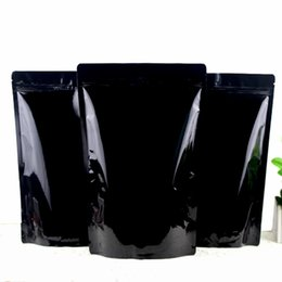 $enCountryForm.capitalKeyWord Australia - 100PCS Lot 18*30cm black Zipper Aluminum Foil Resealable Valve Package Pouches Grocery Coffee Powder Nuts Pack Bags
