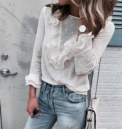Ruffle high neck blouse online shopping - S XL Autumn Women s Shirts White Long sleeved Blouses Slim Basic Tops Plus Size Shirts Female High Quality