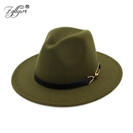 8acec3806cb Zgllywr Fedoras Hat for Women Men Fashion Jazz Lady Wool Large Wide Brim  British Style Vintage Autumn Winter Casual Hat