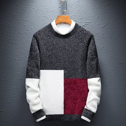 hot pink computer 2019 - Men Sweater Fashion 2018 New Arrival Winter Trendy Male Knitted Pullover Sweater Teenage Boys Korean Style Hot Selling M