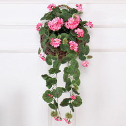 Chinese  Artificial Begonia flower rattan Wedding decoration Silk Ivy basket flower wall Hanging Vine Garland balcony Party Hotel decoration plants manufacturers