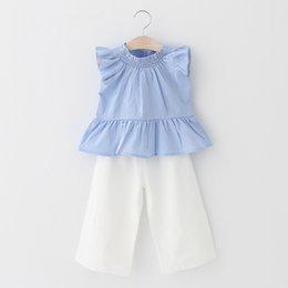 INS Nuove ragazze della Corea Imposta stile fresco Foglia di loto Ruffle Tank Top Camicie + pantaloni bianchi Allentato casuale Set ragazza si adatta Light Blue A9008