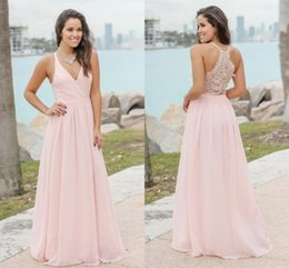 cheap candies 2019 - Candy Pink Summer Bohemian Bridesmaids Dresses 2019 Sexy V Neck Lace Back A Line Chiffon Long Wedding Guest Party Gowns
