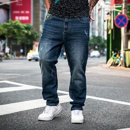 97b8b6b4228 Mens Jeans Large Plus Size 30-44 46 48 Denim Vintage Blue Men s Straight  Jean Pants Casual Relax Loose Fit Jeans Trousers Pants