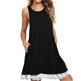 Dress Big Size Knees NZ - summer sexy dress women dress for women O Neck Casual Lace Sleeveless Above Knee Dress women's dresses in big sizes