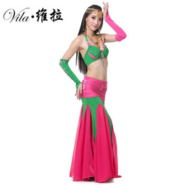 Qualité Sexy Belly Dance Costume Set Costume Femmes Adultes Perlé Indien Costume De Danse Bollywood Costume Longue Ventre Sirène Jupe Top Manches Ensemble