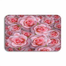 kitchen mat rug NZ - Vixm 3D Beautiful Romantic Background With Realistic Pink Rose Welcome Door Mat Rugs Flannel Anti-slip Entrance Indoor Kitchen Bath Carpet