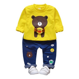 $enCountryForm.capitalKeyWord UK - Boys Clothing Set Autumn Style Cotton O-Neck Full With Bear Print Baby Clothes Long Sleeve T-shirt Pants 2pcs Suits