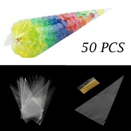 wholesale school ties NZ - 50pcs lot Clear Party Gift Chocolate Sweet Popcorn Halloween Candy Bag With Twist Ties Party Favors