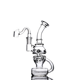 China Sesh supply Fab Egg Glass Bong Skull glass water Pipe Double recycler Showerhead perc oil rigs with slits 14 mm joint glass banger or bowl cheap bong egg skull suppliers