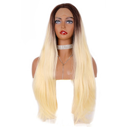 blonde wig brown roots synthetic Australia - Charming Middle Part Long Body Wave Wigs 24inch Heat Resistant Blonde Lace Front Wig With Short Brown Root Synthetic Hair For Black Women