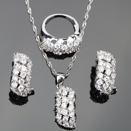 Women Jade Ring NZ - ing earring White Zircon Bridal Silver 925 Costume Jewelry Sets Women Pendant&Necklace Rings Earrings With Stones Set Jewellery Gift ...