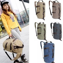 Discount leather backpack computer bag - canvas Barrel backpack large travel Climbing backpack male computer multi-function backpacks PU leather round duffle bag