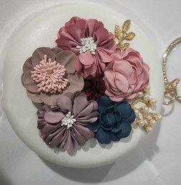 Evening Purses Flowers Australia - LOLIBOX Women Evening Bags Round Shaped Bags Diamonds Chain shoulder Flower Leaf Metal Day Clutches Purse