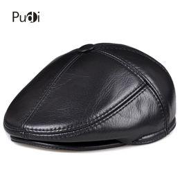 HL093-F genuine leather men berets cap hat high quality fashion men s real  leather baseball caps winter warm hats 06eb0addd7c4