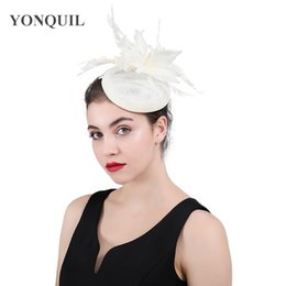 ab06b9a172c45 Top Quality beige Bridal imitation Sinamay Fascinator Event Occasion Hat  with beauty Feathers for Kentucky Derby Church Wedding Party SYF410