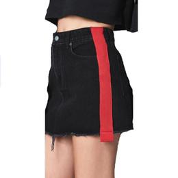 7abbd05309 LOGAMI falda de mezclilla cosida a mano de cintura alta faldas mini de una  línea para mujer falda sexy de primavera de verano negro rojo