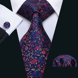 white jacquard 2019 - 2018 New listing Mens Tie Hankerchief Cufflinks Set Blue tie with red flower Silk Business Casual Party Necktie Jacquard