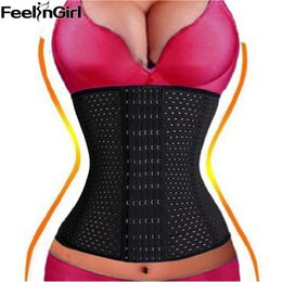 Wholesale Black S Hooks Australia - FeelinGirl 6 Rows Hook Waist Cincher Air Hole Breathable Body Shapewear Belt Corset Cincher Trainer Girdle slimming Tummy -A5