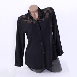 Discount lace button blouses - 2018 Autumn Women Blouse Plus Size Female V Neck Long Sleeve Hollow Buttons Vintage Flowers Lace Shirt Casual Loose Sexy