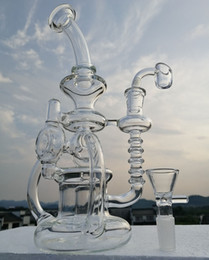 water bongs 2019 - Recycler bong new glass water pipe with thick 4mm quartz banger oil burner glass oil rig 14.4mm joint or buy smoking acc
