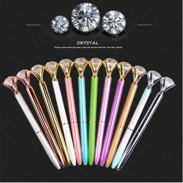 $enCountryForm.capitalKeyWord Australia - 2019 Hot sales Big Gem Metal Ball Pen With Large Diamond Blue and Black Ink Magical Pen Fashion School Office Supplies