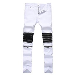 Chinese  Men Jeans Zipper Design On Knee Slimling Pants Hip Hop High Street Wear Homme Bottom Clothing manufacturers