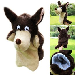 $enCountryForm.capitalKeyWord Canada - New Fashion Kids Lovely Animal Plush Hand Puppets Childhood Soft Toy Wolf Shape Story Pretend Playing Dolls Gift For Children