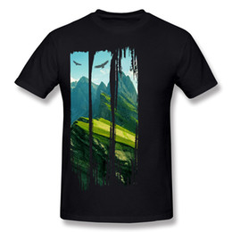 mountain tees UK - High Quality Mens Pure cotton Mountain Landscape Tee-Shirts Mens Crewneck Purple Short Sleeve T-Shirt S-6XL Design Tee-Shirts