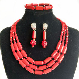 Nigerian Bridal Coral Beads NZ - 3 Rows Imitation Red Coral Nigerian Wedding Beads African Jewelry Set Bridal Jewelry Women Party Costume Necklace Earrings Bracelet Jewelry