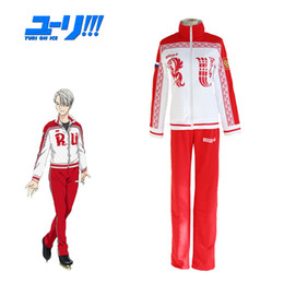 Wholesale anime yuri for sale - Group buy YURI On Ice Cosplay Victor Viktor Nikiforov School Uniform Sport Suit Jacket Top Pants Japanese Anime Costume
