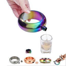China Bracelet Hip Flask club 3.5oz 304 Stainless Steel Rainbow Liquid Alcohol Vodka Whiskey Drinkware Alcohol Bangle Funnel In stock wholesale suppliers
