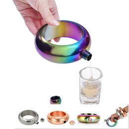 Pulsera Hip Flask club 3.5oz 304 Acero inoxidable Rainbow Alcohol Vodka Whisky Drinkware Alcohol Brazalete Embudo En stock al por mayor