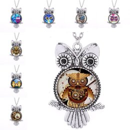$enCountryForm.capitalKeyWord UK - Vintage Silver Punk Owl Frame Owl Glass Cabochon Necklace Owl Pendants Chain Fashion Jewelry for Women Kids Gift