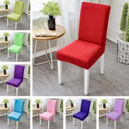 wholesale chairs 2019 - Newest High Elastic Chair Cover Restaurant Hotel Wedding Dining Room Chair Cover Home Decors Seat Covers Spandex Stretch