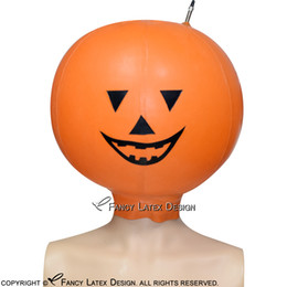 costumes fetish play NZ - Halloween Orange With Black Inflatable Sexy Latex Hoods Pumpkin Rubber ball Masks Cocoon Balloon Fetish Bondage Breath Play TT-0110